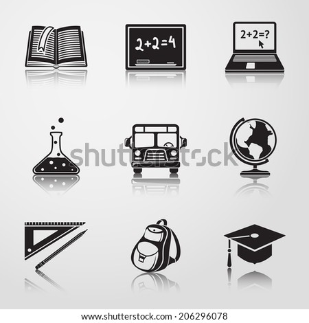 School (education) black icons with reflections - globe, notebook, blackboard, backpack, text book, graduation cap, school bus, science bulb, pencil and ruler. - stock vector