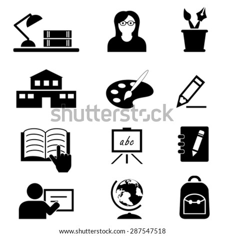 School, education, college and back to school icon set - stock vector