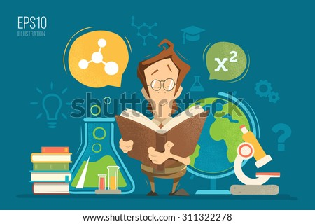 School education colorful vector illustration concept. Young schoolboy boy child kid pupil holding and reading a book or textbook learning geography, chemistry, physics and mathematics maths lessons. - stock vector