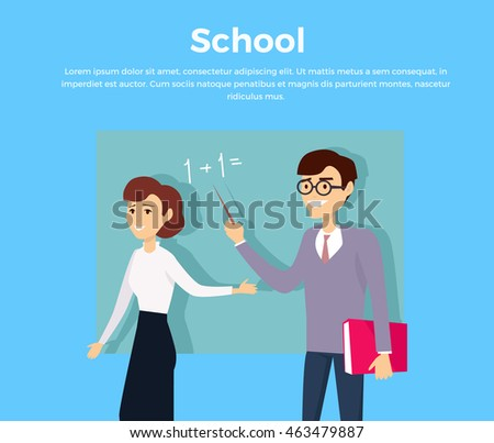 School education concept banner design flat style. Man and a woman teacher near blackboard. Education university and study student, learning graduation knowledge mathematics, vector illustration