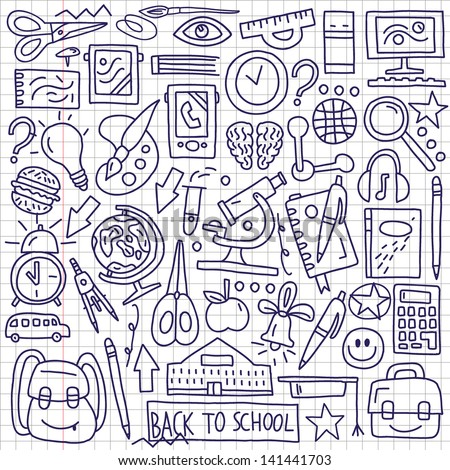 school education - doodles