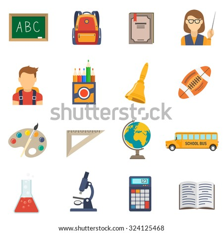School education flat icons set with chalkboard backpack and textbook isolated vector illustration