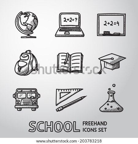 School (education) freehand icons set with - globe, notebook, blackboard, backpack, text book, graduation cap, school bus, science bulb. - stock vector