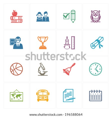 School & Education Icons Set 3 - Colored Series - stock vector