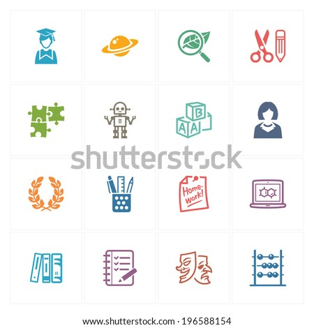 School & Education Icons Set 5 - Colored Series - stock vector
