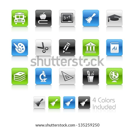 School & Education Icons / The file Includes 4 color versions in different layers. - stock vector