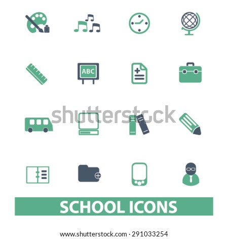 school, education, learning isolated icons, signs, illustrations on white background for website, internet, mobile application, vector - stock vector