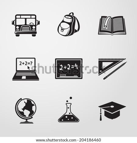 School (education) monochrome icons set with - globe, notebook, blackboard, backpack, text book, graduation cap, school bus, science bulb. - stock vector