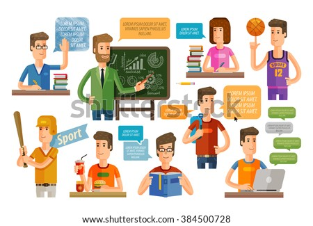 school, education or learning icons set. vector illustration - stock vector
