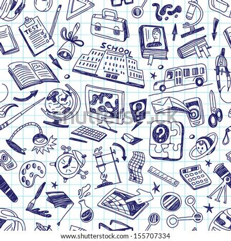 School education - seamless background - stock vector