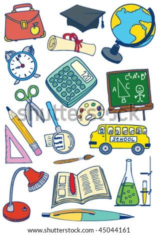 School (education) set - stock vector