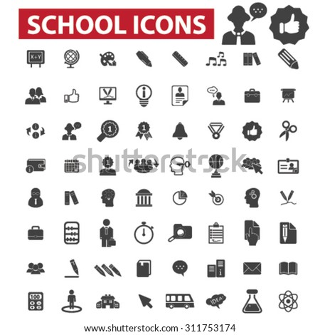 school, education, study black isolated concept icons, illustrations set. Flat design vector for web, infographics, apps, mobile phone servces - stock vector