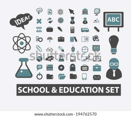 school, education, study, learning, science icons set, vector - stock vector