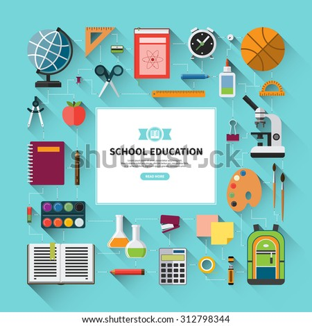 School education vector background with flat icons set. School supplies - schoolbook, notebook, pen, pencil, paints, stationary, training aids, school bag, globe, rulers, basketball, calculator etc. - stock vector