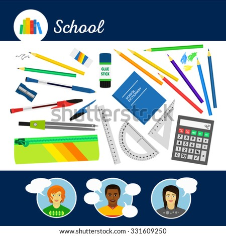 School equipment for pupils. Design set. Simple flat icons. Smiling talking people.