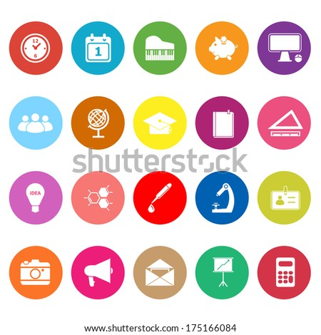 School flat icons on white background, stock vector