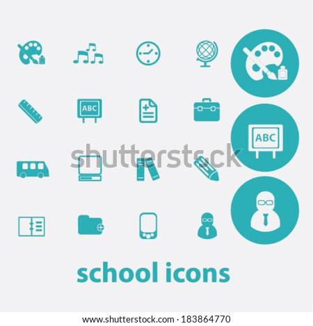 school flat icons set  for digital web, print, design, mobile phone apps, vector - stock vector