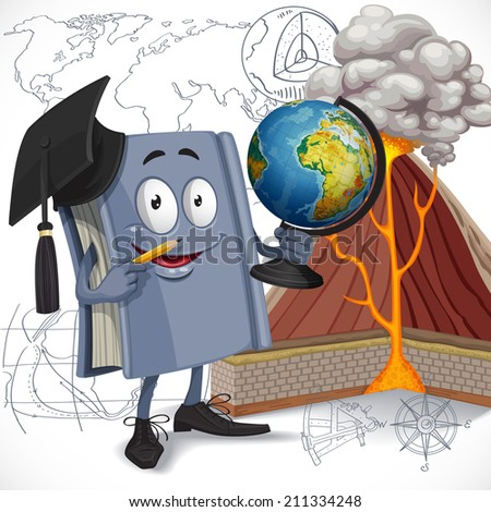 School geography textbook hold globe on diagram of volcano background - stock vector