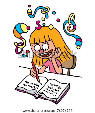 School Girl homework imagination - stock vector