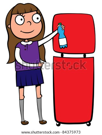 School girl recycling a plastic bottle, vector illustration - stock vector