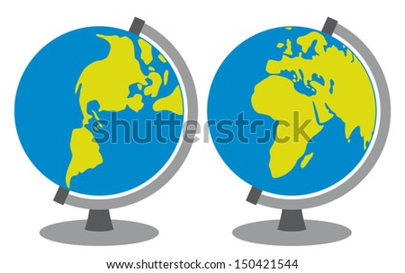school globe (globes showing earth with all continents, world globe, globe icon, terrestrial globe) - stock vector