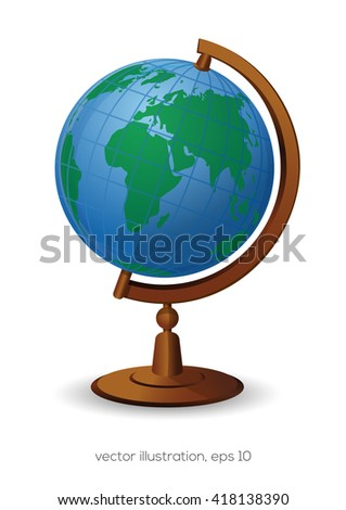 School Globe isolated on white background. School Geography Globe icon. Vector illustration - stock vector