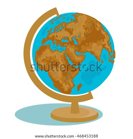School globe. Model of Earth.Geography icon. Hand drawn vector illustration in flat style.