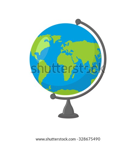 School Globe -  model of  Earth. Model of celestial sphere of planet. Object of learning. Icon of globe. Sphere map of  continents and oceans - stock vector