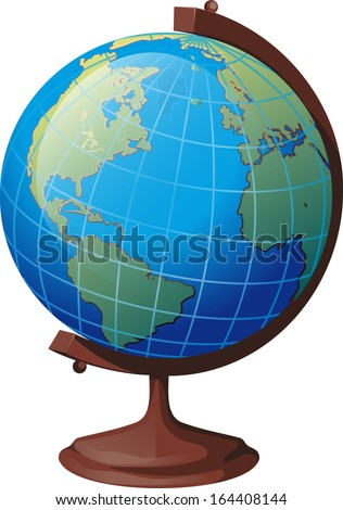 school globe on a stand turned to the viewer the American continent - stock vector