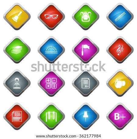 School glossy web icon set