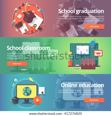 School graduation. Cap and gown. Online education. Education and science banners set. Vector design concept. - stock vector