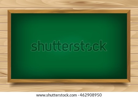 School green Board on wooden background. Vector illustration