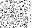 School hand drawn pattern for your design - stock photo