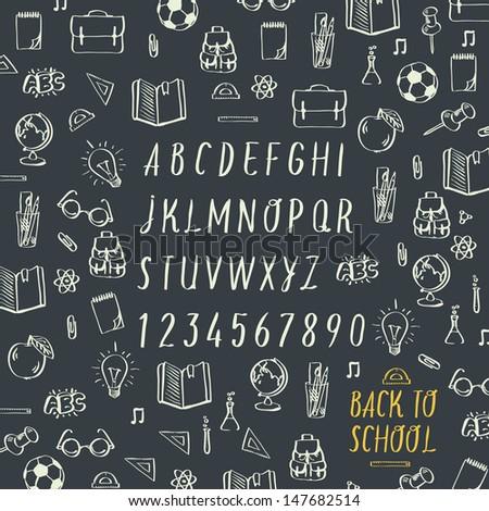 School hands draw chalk written font, vector image.  - stock vector