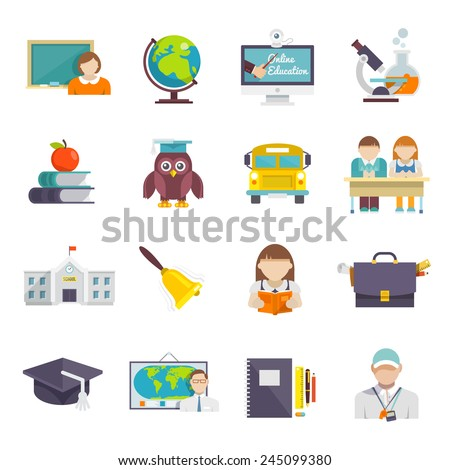 School icon flat set with teacher pupils and education elements isolated vector illustration - stock vector
