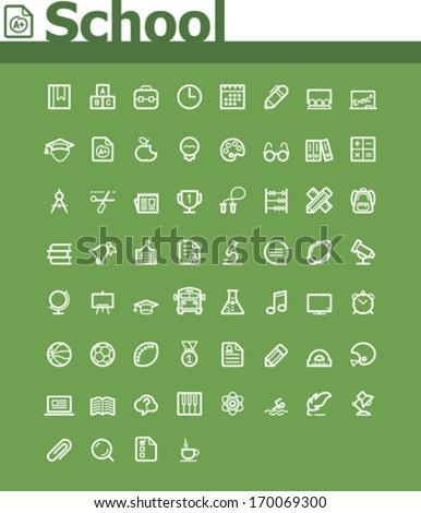 School icon set - stock vector