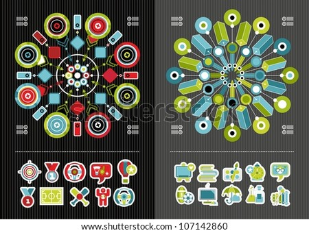 school icons and infographics - stock vector