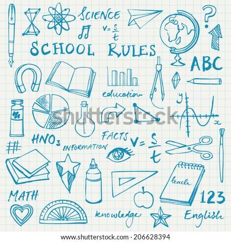 School icons doodle vector - stock vector