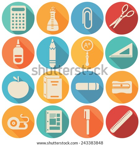 School  icons flat set - vector illustration - stock vector