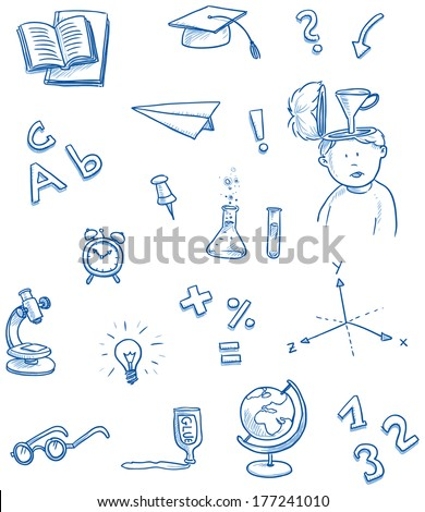 School icons for science, knowledge, reading, math, chemistry, geography, hand drawn sketch vector illustration - stock vector