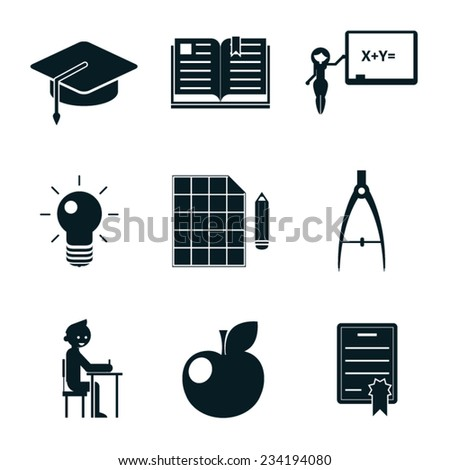 School icons isolated set vector illustration - stock vector