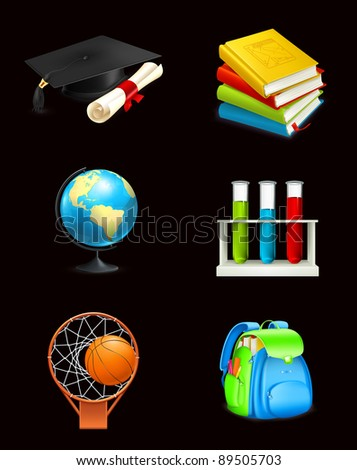 School icons on black, vector - stock vector