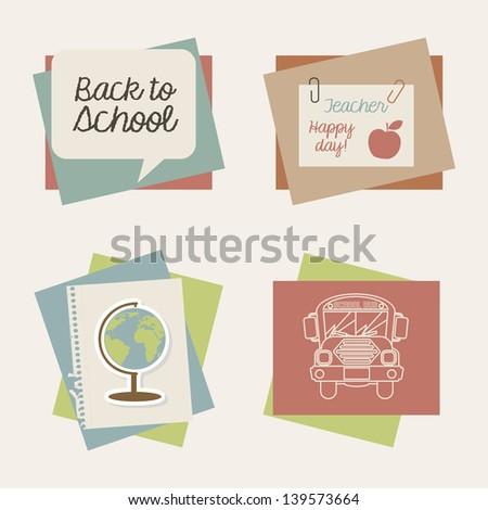 school icons over cream background vector illustration - stock vector