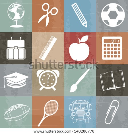 school icons over white background vector illustration - stock vector