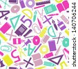 school icons seamless pattern - stock vector