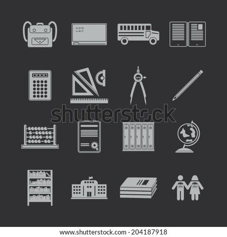 School icons set - stock vector