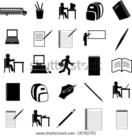 school icons set - stock vector
