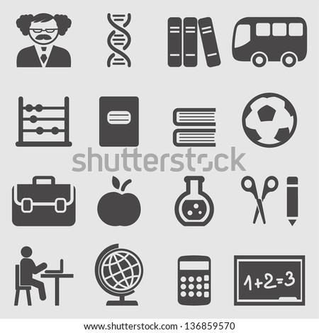 School icons set.Vector - stock vector