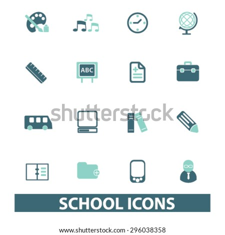 school icons set, vector - stock vector