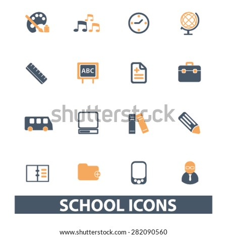 school icons, signs, illustrations set, vector - stock vector